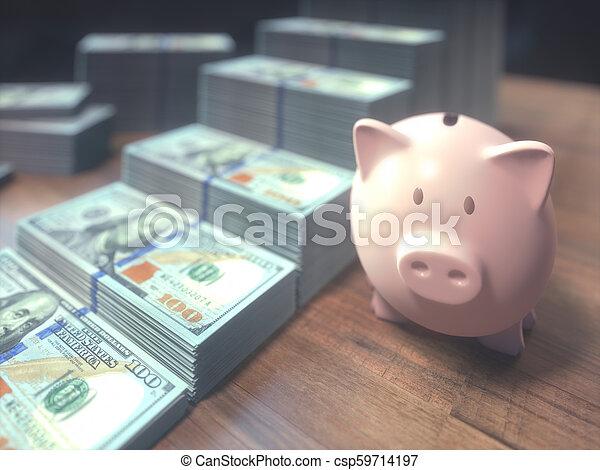Piggy Bank Dollar Bills Growing Bar Chart - csp59714197