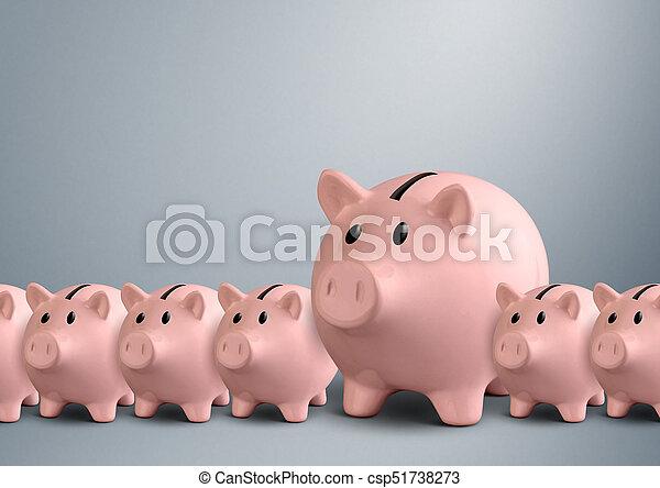 Piggy banks in a row, best bank concept - csp51738273