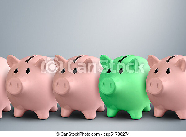 Piggy banks in a row, finance success concept - csp51738274