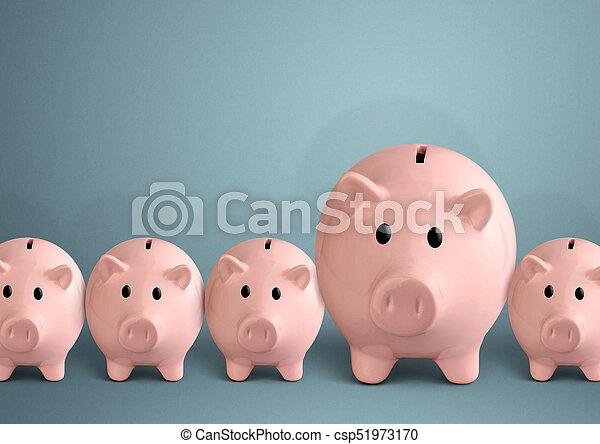 Piggy banks in a row, successful bank concept - csp51973170