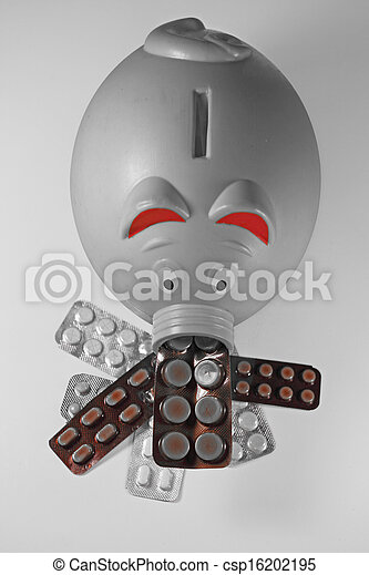 Pills in Blister packs with a Piggy Bank, Concept - csp16202195