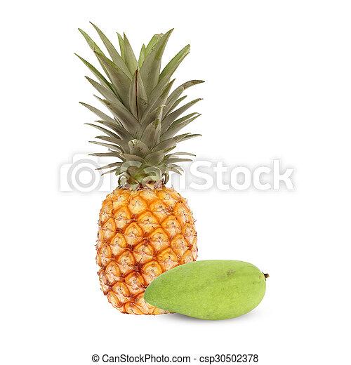 pineapple and mango isolated - csp30502378