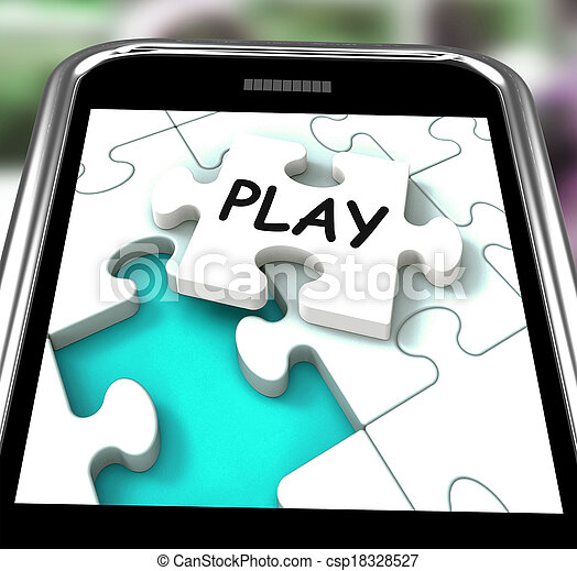 Play Smartphone Shows Recreation And Games On Internet - csp18328527