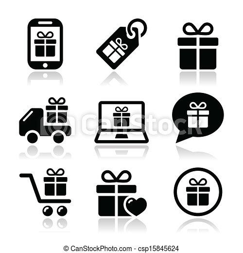 Present, shopping vector icons set - csp15845624