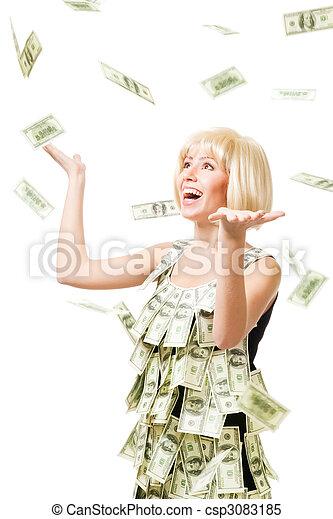 Rain of dollars - woman won a million - csp3083185