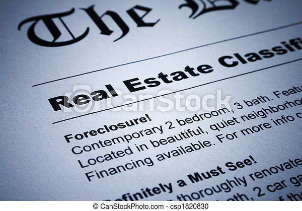 Real Estate ads on Newspaper - csp1820830