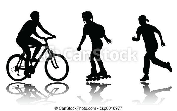 recreation silhouettes - csp6018977