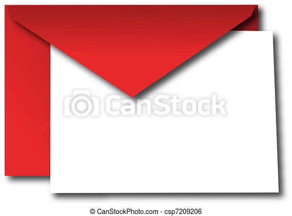 Red envelope with blank card - csp7209206