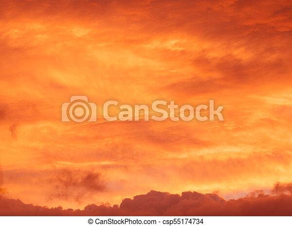 red sunrise cloudscape background - csp55174734