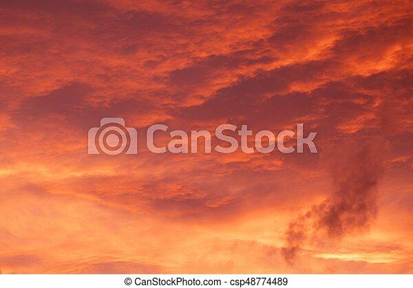 red sunrise cloudscape - csp48774489