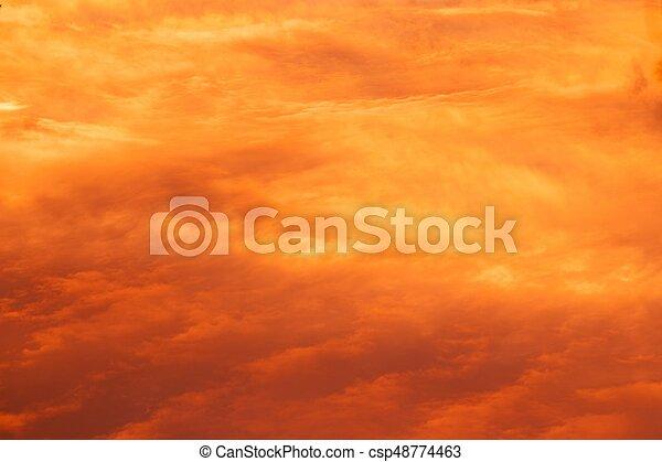 red sunrise cloudscape, top view - csp48774463