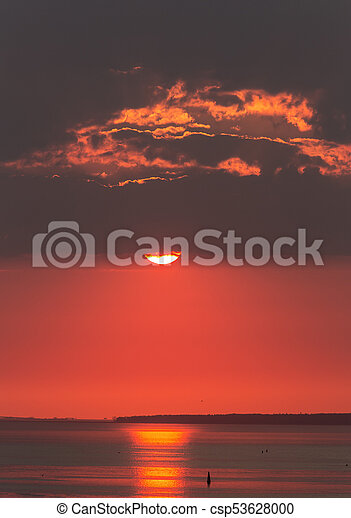 red sunset with clouds - csp53628000