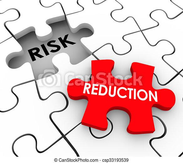 Risk Reduction Puzzle Pieces Mitigate Dangerous Behavior Increase Safety - csp33193539