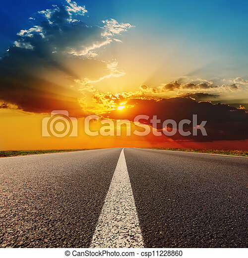 road to dramatic sunset - csp11228860