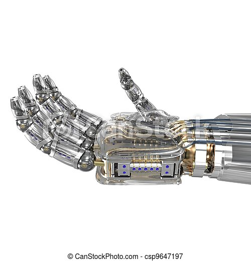 Robot hand holding imaginary object - csp9647197