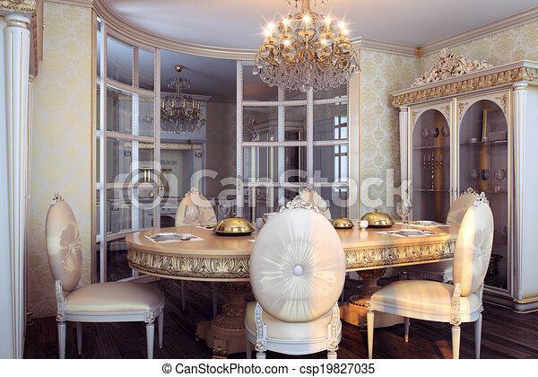 Royal furniture baroque interior - csp19827035