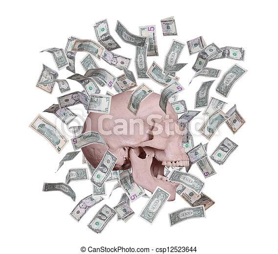 screaming Skull in rain of dollars - csp12523644