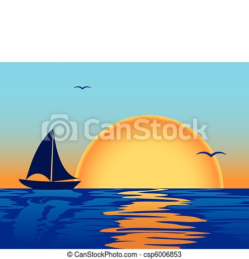 sea sunset with boat silhouette - csp6006853