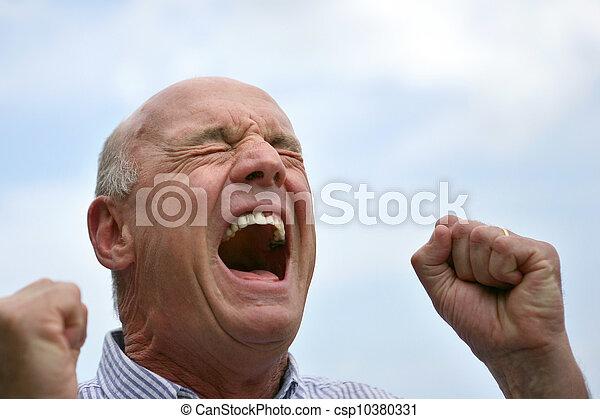 Senior screaming outdoors - csp10380331