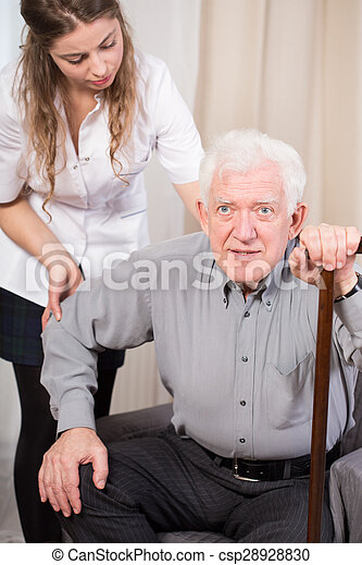 Senior trying to get up - csp28928830