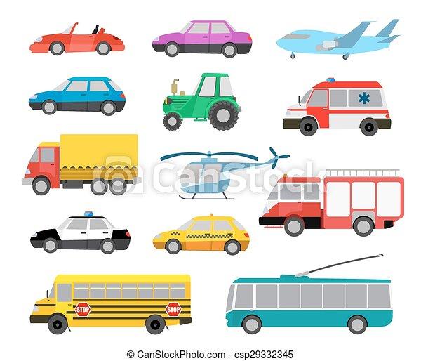 set of cartoon cute cars and vehicles. vector illustration - csp29332345