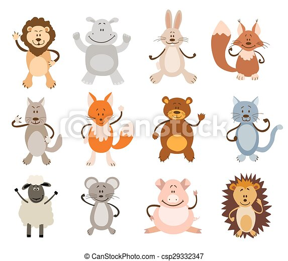 set of cute animals. vector illustration - csp29332347