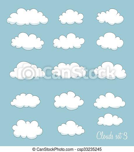 set of cute cartoon clouds. vector - csp33235245