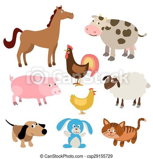 set of cute cartoon farm animals. vector illustration - csp29155729