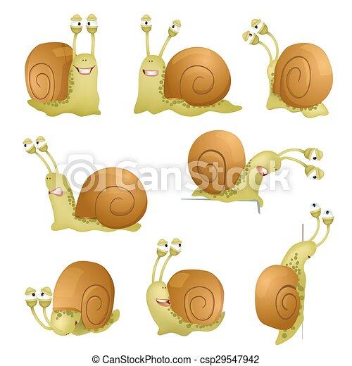 set of cute cartoon snails. vector illustration - csp29547942