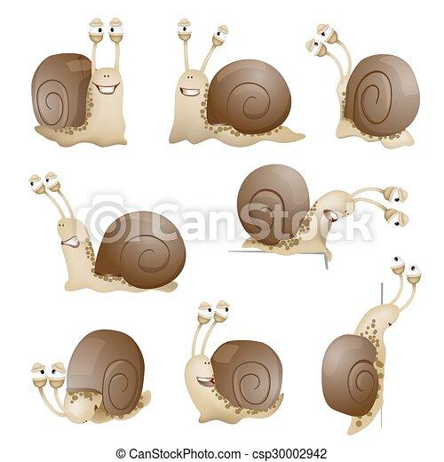 set of cute cartoon snails. vector illustration - csp30002942