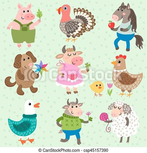 Set of cute farm animals - csp45157390
