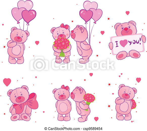 Set of teddy bears with hearts - csp9589454