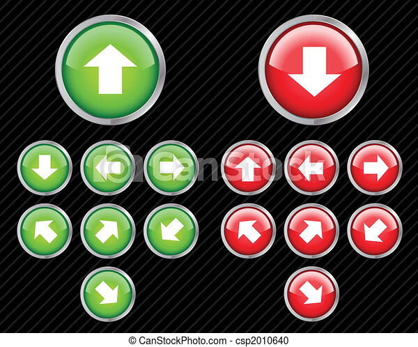 Set of vector direction buttons with arrows. Easy to edit, any size. Aqua web 2.0 style. - csp2010640