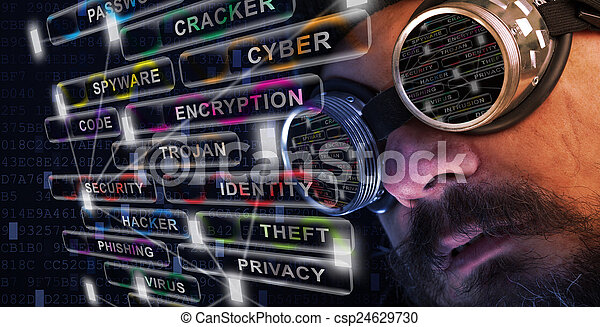 Shag beard and mustache man study cyber security - csp24629730