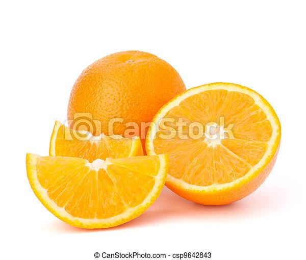Sliced orange fruit segments isolated on white background - csp9642843