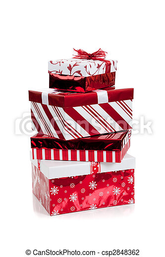 Stack of red and white wrapped Christmas presents - csp2848362