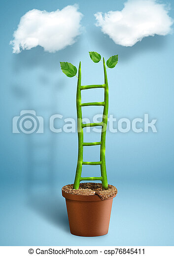 Stairs to success creative concept, plant growth as ladder - csp76845411