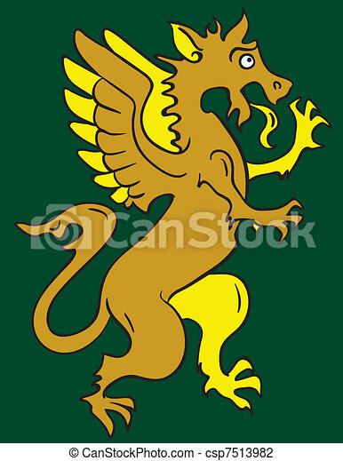 Standing heraldic griffin cartoon character - csp7513982