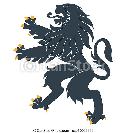 Standing Heraldic Lion - csp10028659