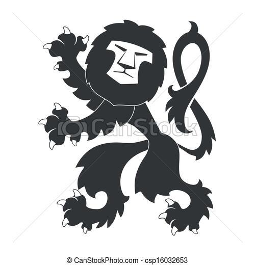 Standing Heraldic Lion - csp16032653