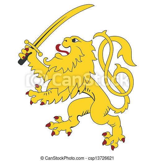 Standing heraldic lion - csp13726621