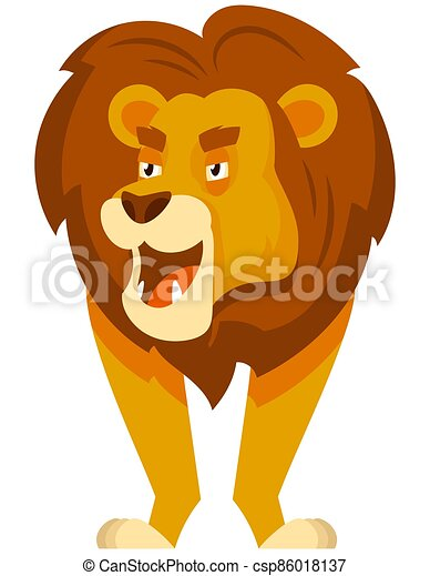 Standing lion front view. - csp86018137