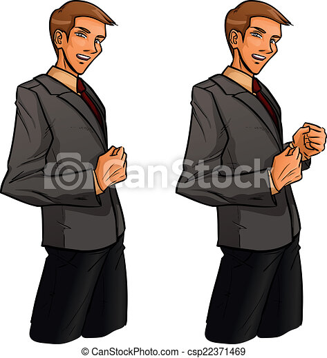 Standing man clenches one's fist - csp22371469