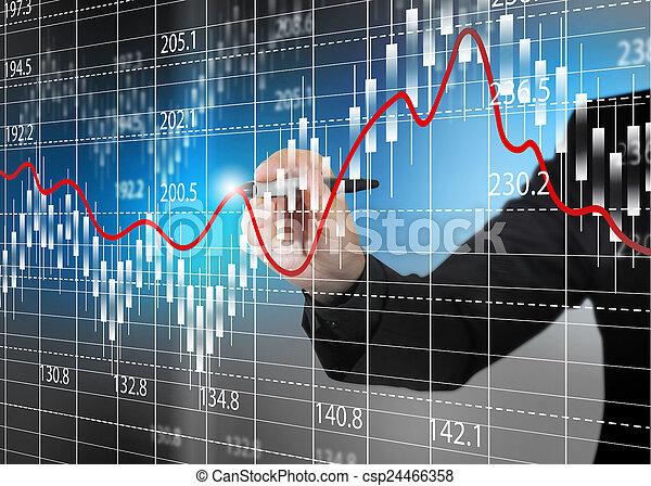 Stock exchange chart, Business analysis diagram. - csp24466358