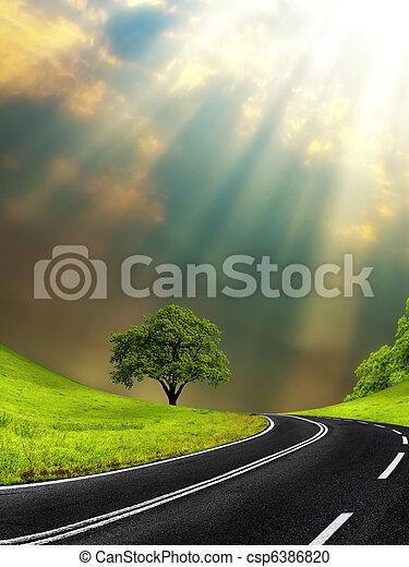 Sunny road - csp6386820