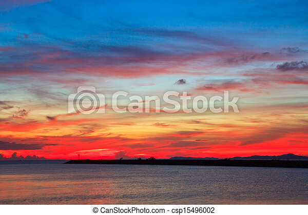Sunset blue sky and clouds backgrounds - csp15496002