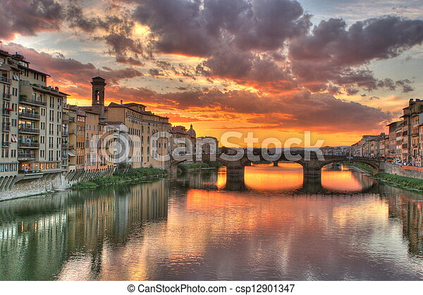 Sunset in Florence, Italy - csp12901347