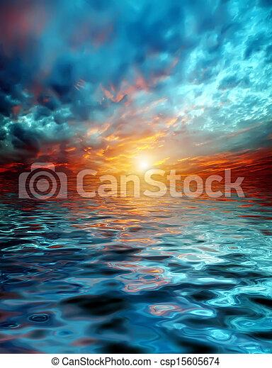 sunset over lake - csp15605674