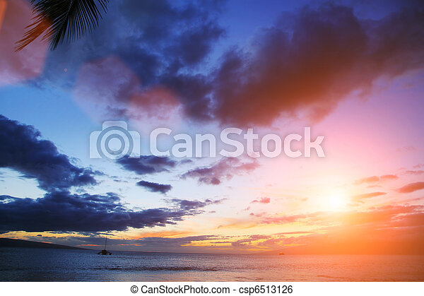 Sunset over ocean - csp6513126