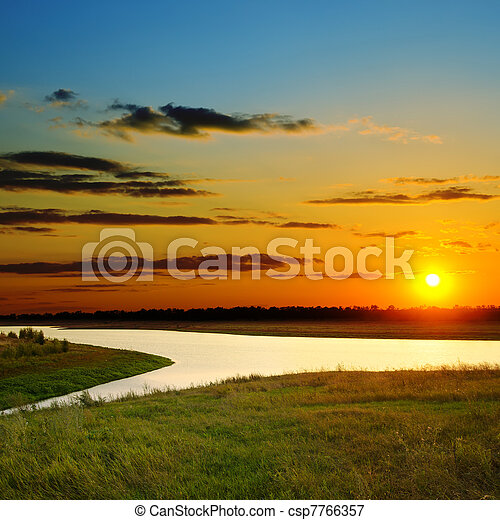 sunset over river - csp7766357